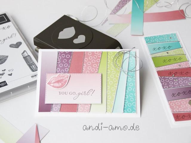Karte Stampin Up Hearts & Kisses Küsschen Ombre