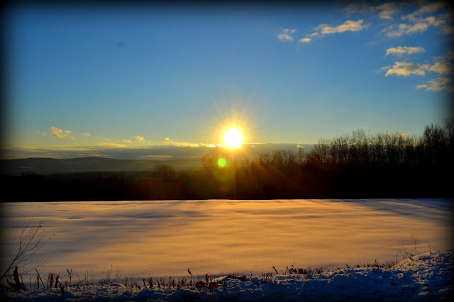 Snow Fields, Sunset, Gilmanton Iron Works, New Hampshire, shadow