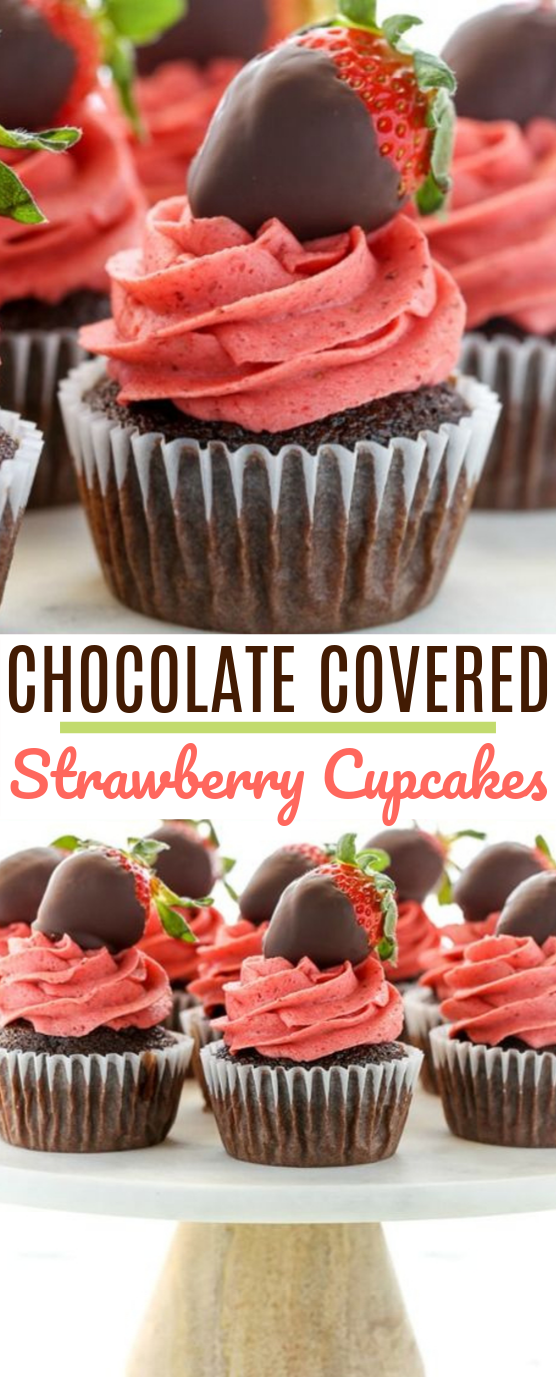 Chocolate Covered Strawberry Cupcakes #cake #recipes