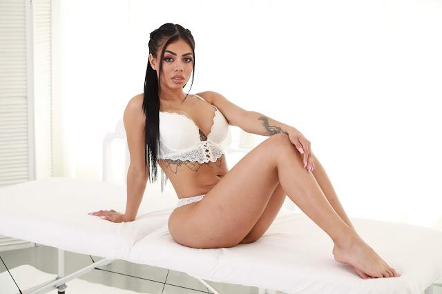 Canela Skin sitting sexy pose big booty white lingerie