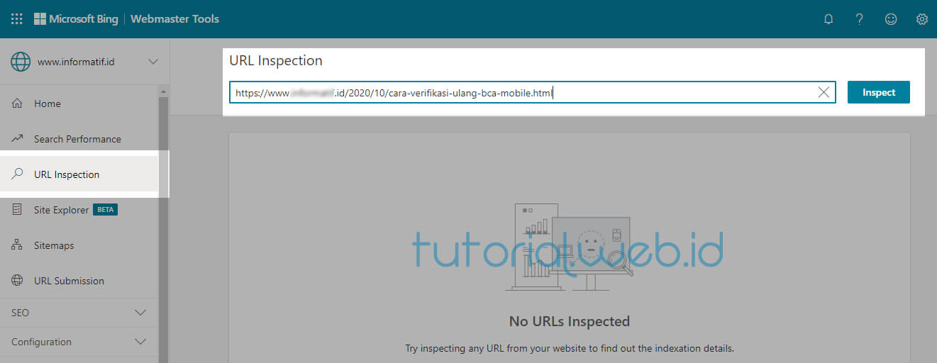 Cara Submit Artikel Ke Bing 1 Pilih URL Inspection