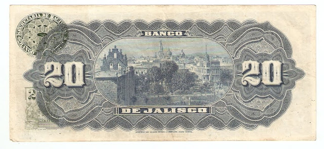 Billetes Mexicanos 20 Pesos Banco de Jalisco, Guadalajara