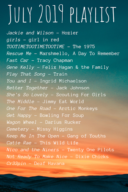 a list of songs on a sunset background