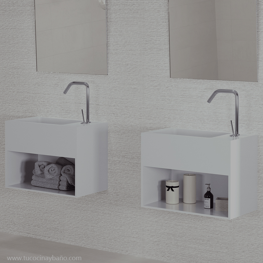 lavabo mural solid surface compacto pequeño