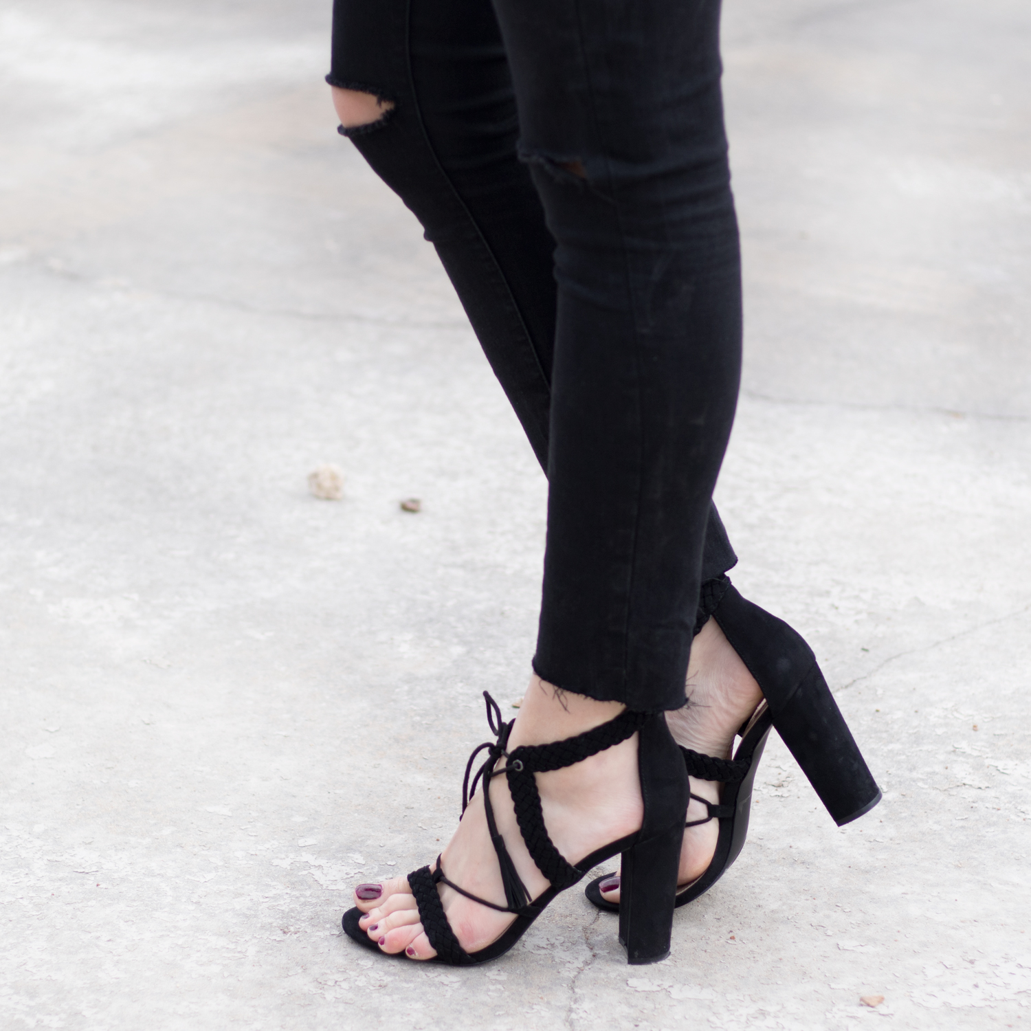 Lace-up heeled sandals