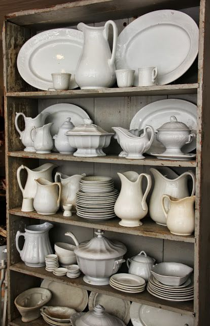 hutch full of ironstone in farmhouse