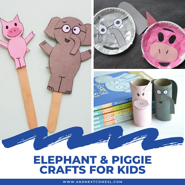 Awesome Elephant and Piggie craft ideas for kids inspired by Mo Willems' popular book series
