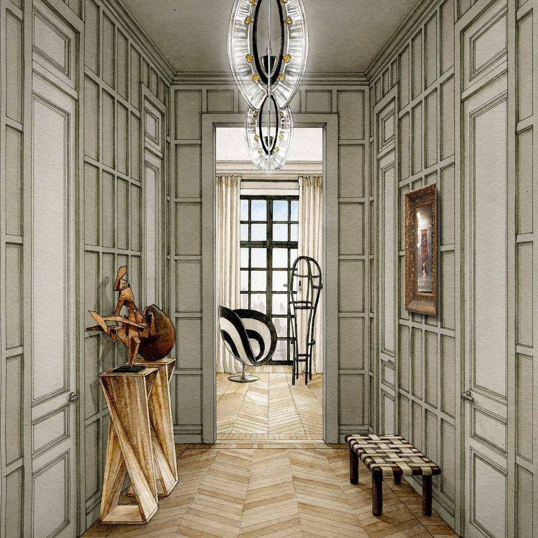 08-Entrance-Hall-Julia-Smolkina-Interior-Design-with-Mixed-Media-Drawings-www-designstack-co