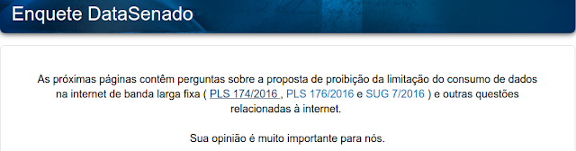 Senado Federal promove enquete para uso da internet