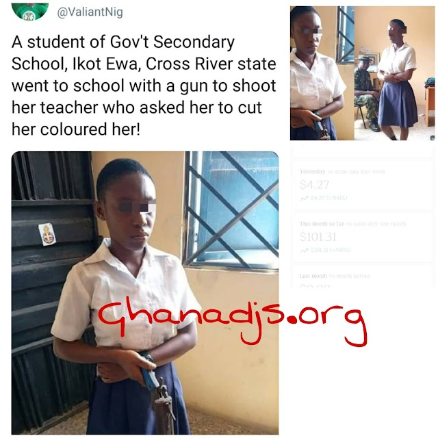 VIDEO: Shs Student Try To Sh00t Her Teacher At Class For Forcing Her To Trim Her Painted Hair