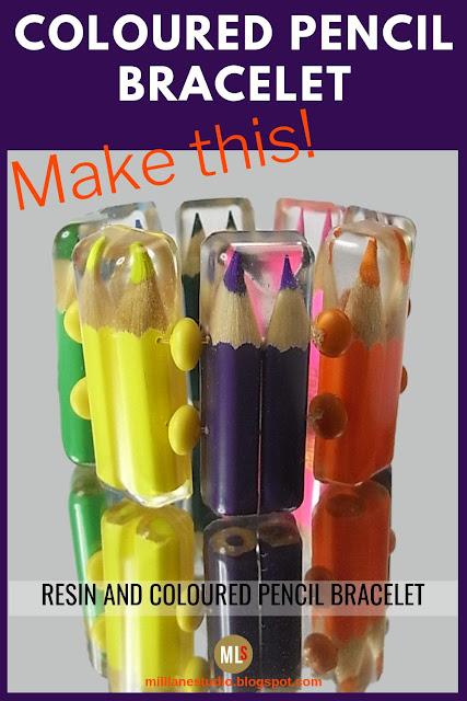 Coloured Pencil and resin bracelet inspiration sheet.