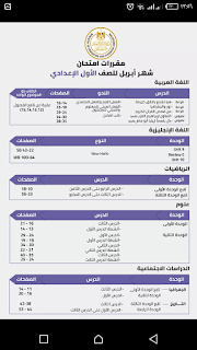 مقررات منهج شهر أبريل الصف الأول والثاني الإعدادى نقلا عن وزارة التربية والتعليم