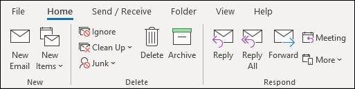 الشريط الكلاسيكي في تطبيق Outlook لسطح المكتب.