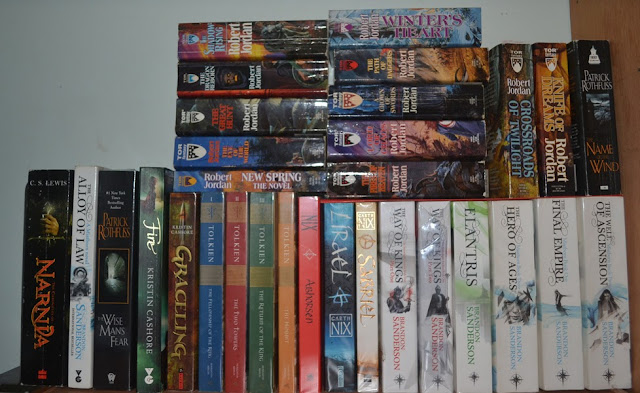 Wheel of Time Shelf, Lord of the Rings, Abhorsen Trilogy, Brandon Sanderson, Patrick Rothfuss