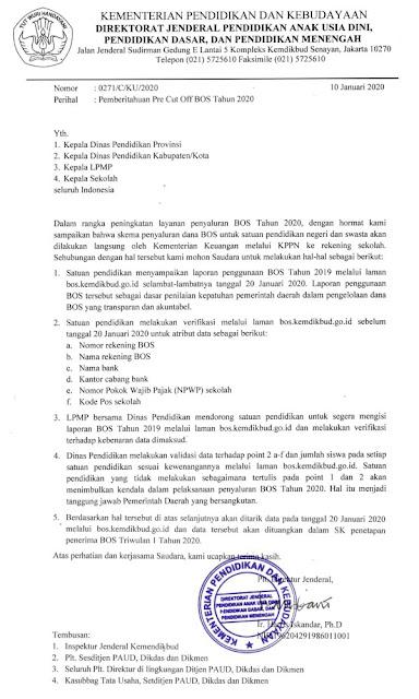 Surat Pemberitahuan Pre Cut Off BOS