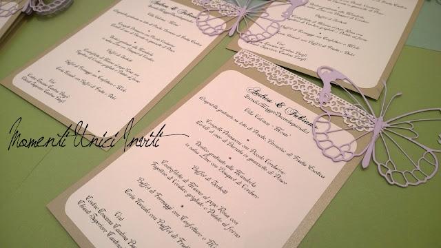 2 Il Coordinato Tableau e Menù di Fabiana & AndreaColore Lilla Colore Sabbia Partecipazioni Pizzo Tema Farfalle