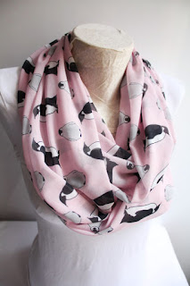 penguin scarf infinity scarf pink