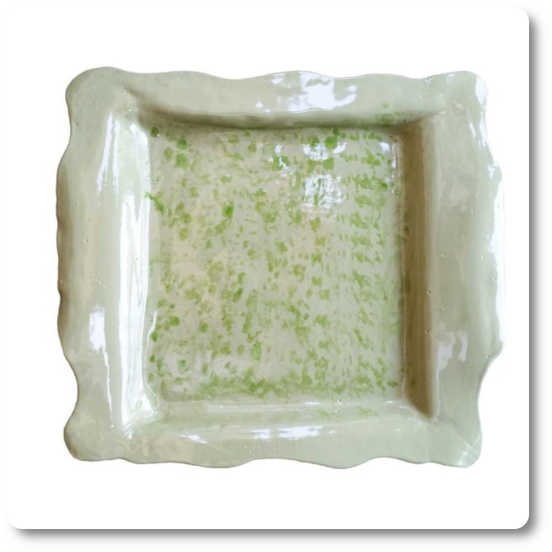 Green decorative kitchen display plate