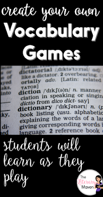 If students aren't given opportunities to practice with vocabulary terms then they will never own them. Just doing homework isn't enough; students need multiple exposures to words in a variety of contents. I do this through a variety of vocabulary games, all of which can be played individually or in groups. Here's a look at five of those games.