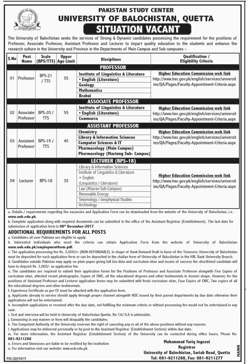 Pakistan Jobs, Jobs in Pakistan, University Jobs, Education Jobs, Jobs in Quetta, Jobs in Balochistan