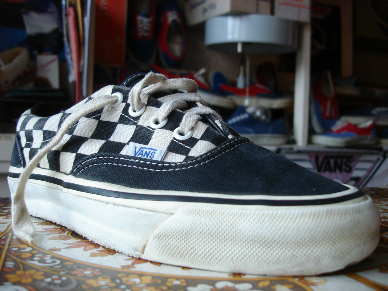 65298caf99 vintage VANS black checkerboard ERA style  95 MADE IN USA 80 s youth womens  OFF THE WALL US5
