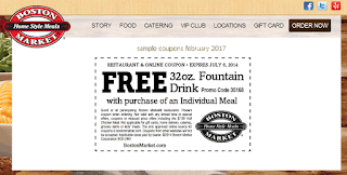 free Boston Market coupons for february 2017
