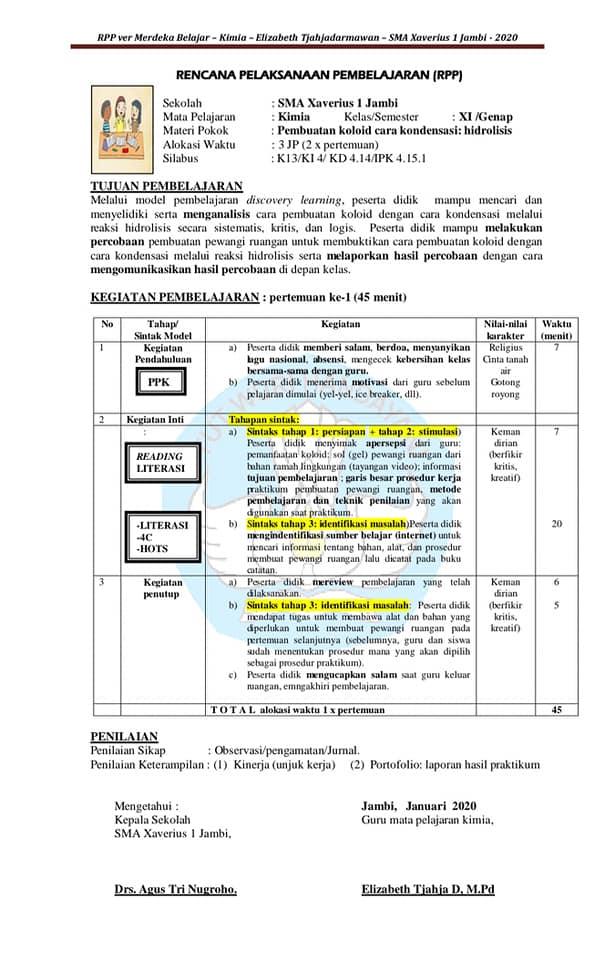 Format RPP (Rencana Pelaksanaan Pembelajaran) Terbaru 2020