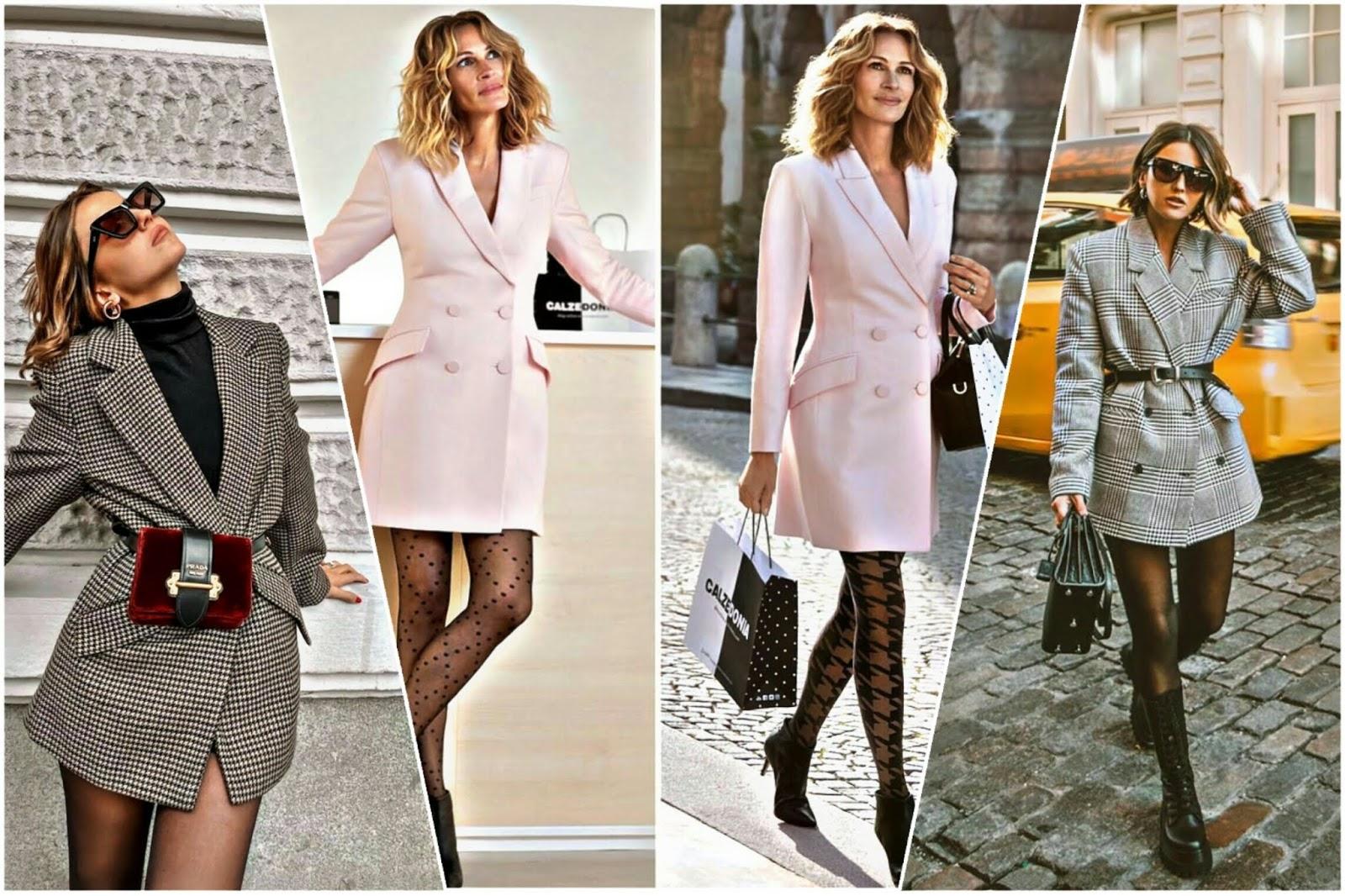 Blazer estilo vestido. Julia Roberts y Alexandra Pereira