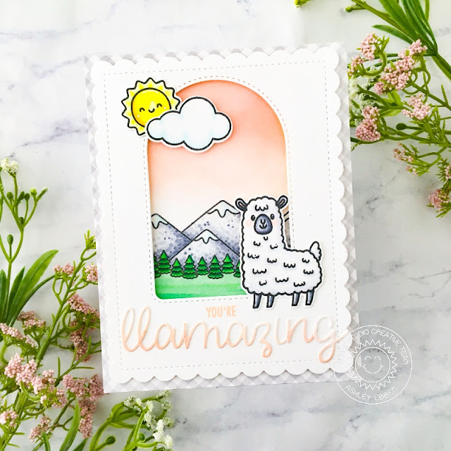 Sunny Studio Stamps: Lovable Llama Loopy Letter Dies Country Scenes Everyday Card by Ashley Ebben