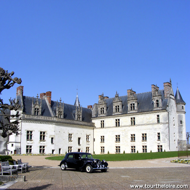Citroen Traction Avant in the grounds of the Chateau Royal d'Amboise, Indre et Loire, France. Photo by Loire Valley Time Travel.