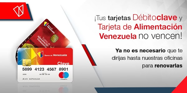 Ahora tus tarjetas del Banco de Venezuela no se vencen