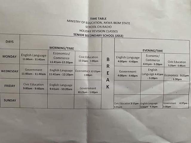 Akwa Ibom State 'School on Radio' Broadcast Timetable [JSS & SSS]