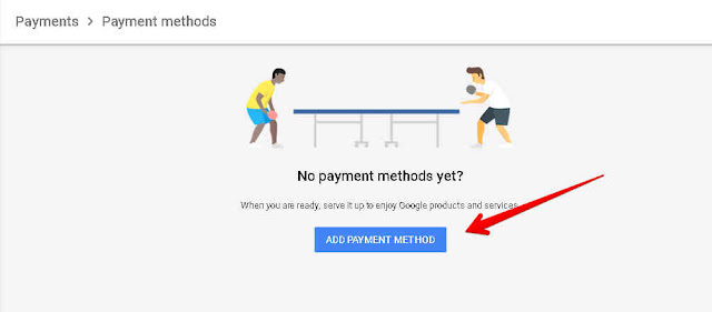 Klik add payment method google adsense