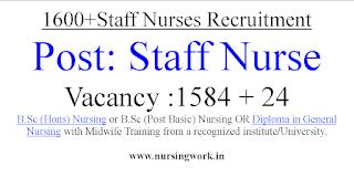 1608 Staff Nurse Vacancies under Haryana Staff Selection Commission
