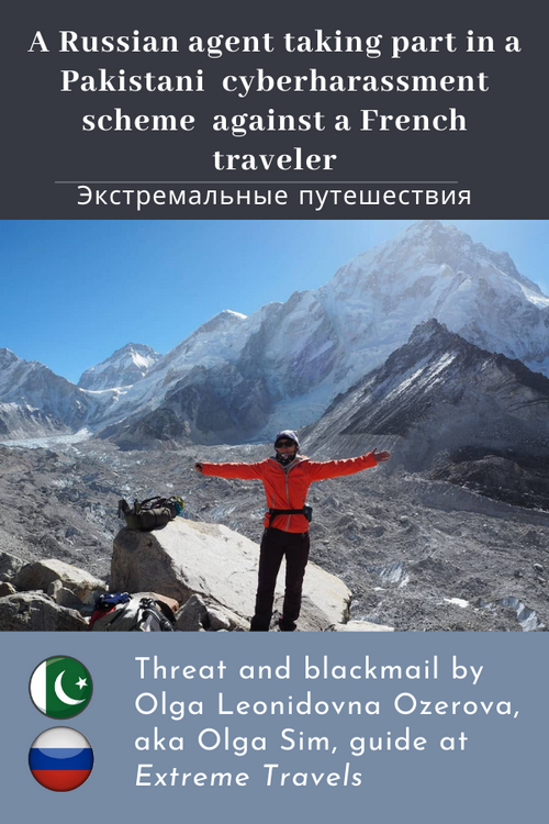 """Olga Elinova Ozerova, aka Olga Sim (Ольга Сим), a Russian travel operator, acting under the name of """"Extreme Travels"""" (Экстремальные путешествия) explicitly joins the Akhtar's hatred and blackmail campaign, January 2021."""