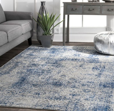 Blue Faded Shadow Mystique Area Rug