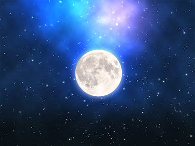 Moon and stars in a blue sky background