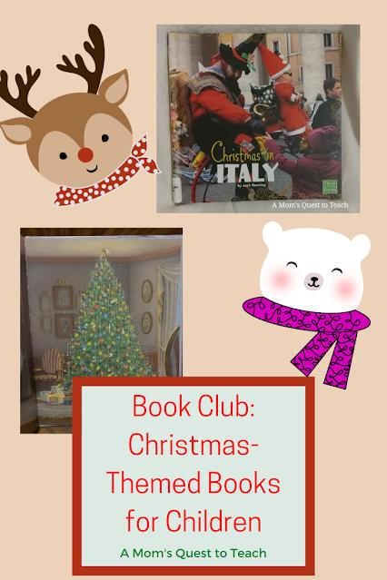Text: Book Club: Christmas-Themed Books for Children; clip art of Rudolph & Polar Bear