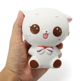 Squishy White Cat Kitten 11cm Soft Slow Rising Cute Cartoon Collection Gift Deocor Toy With Random Free Gift