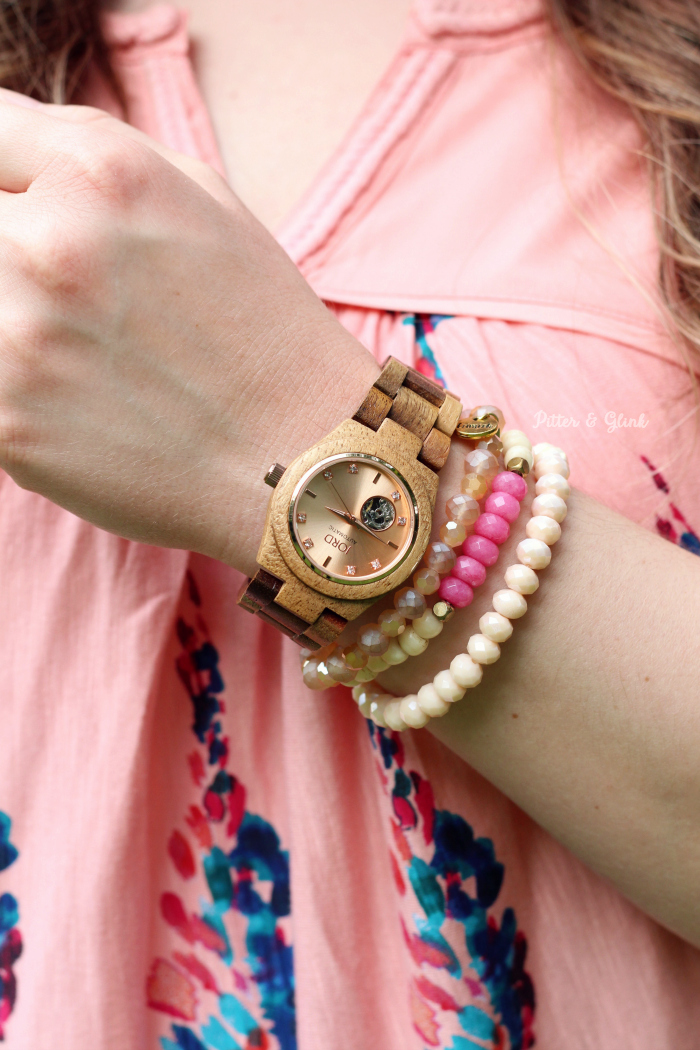 Cora Koa Wood Watch JORD Rose Gold Swarovski