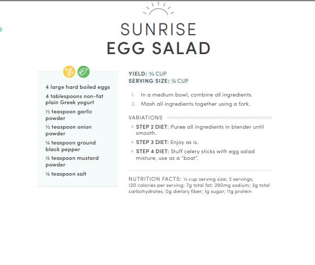 Sunrise Egg Salad on Livliga Just Right Set bariatric