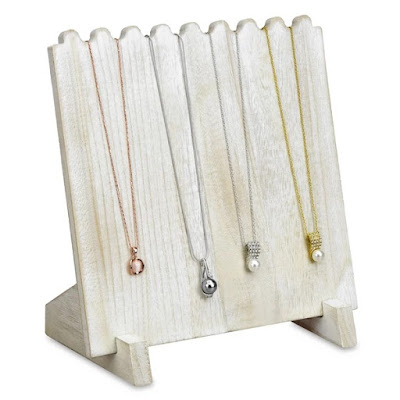 Wooden Plank Necklace Jewelry Display Stand in brown holding four pieces