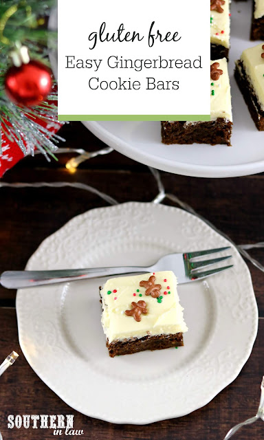 Easy Gingerbread Cookie Bars Recipe - gluten free, melt and mix, easy christmas desserts, quick christmas dessert recipes, fast