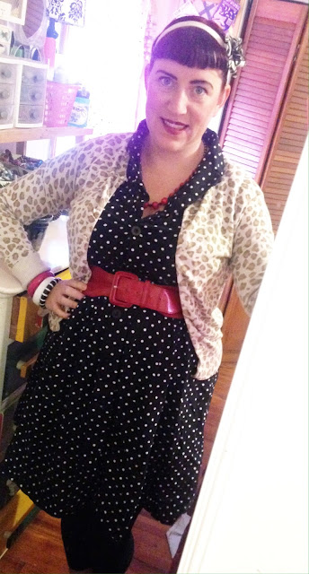 Plus Size Pin Up Outfit for Work with Leopard Print Cardigan and Polka Dot Dress and Red Accessories Mixed Print Outfit