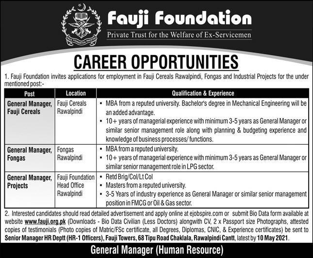 Fauji Foundation Jobs 2021 in Pakistan