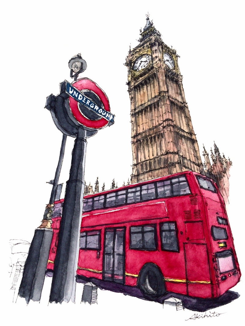 05-Big-Ben-Double-Decker-Akihito-Horigome-Travelling-Drawing-and-Painting-www-designstack-co
