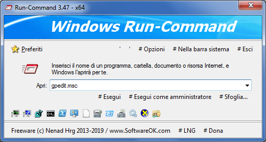 Run-Command interfaccia principale
