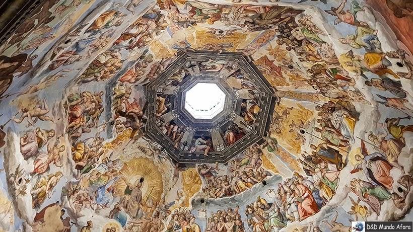 Pintura Juízo Final no teto da Catedral Santa Maria del Fiori - Diário de bordo: 2 dias em Florença