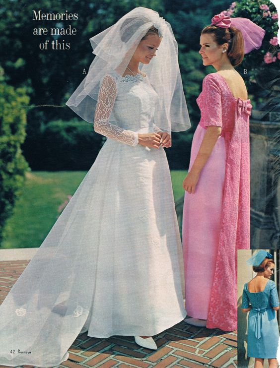 4c8b4496571f Above: Pouf veils, long and short had their hey day in the 1960s. These  above are fromThe JC Penny catalog circa mid-sixties. Below: Top of the  line lace ...