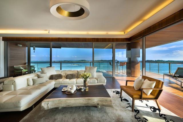 Thiết kế nội thất phòng khách cho 1 căn biệt thự riêng giáp biển của 1 đại gia trong ngành xây dựng